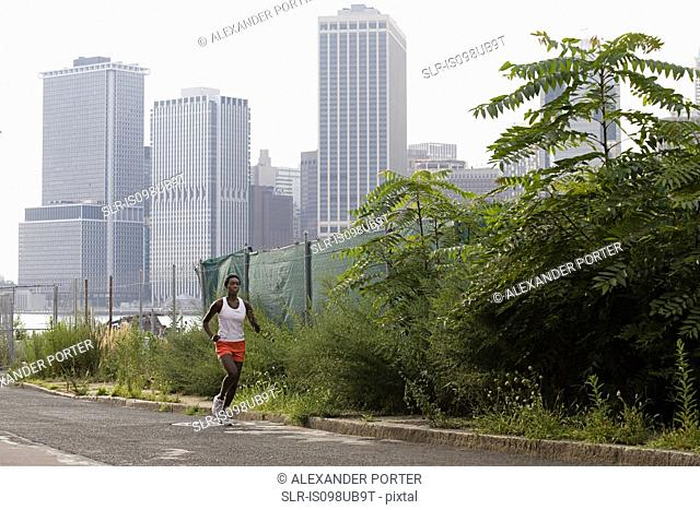 Young woman running in brooklyn