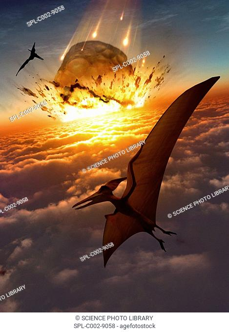 Extinction of the dinosaurs. Artwork of flying reptiles near the point of impact of a large asteroid. This asteroid is impacting the Earth's atmosphere at a...