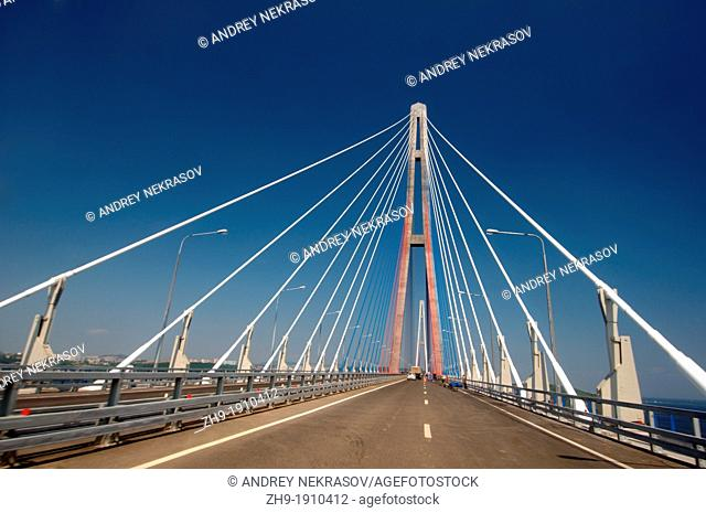 Bridge Vladivostok-Russky Island  Far East, Primorsky Krai, Russian Federation
