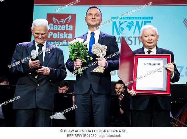 January 29, 2016. Warsaw, Poland. `Human of the year` Gala. Pictured: Andrzej Duda, Jaroslaw Kaczynski