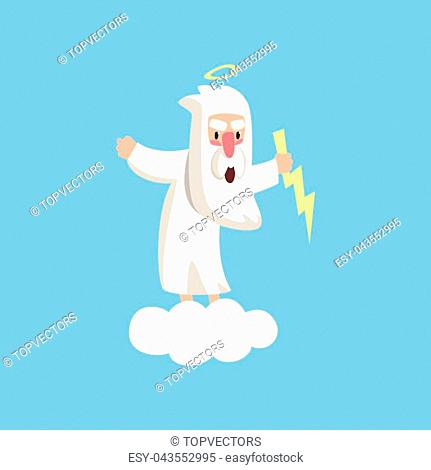 Angry god character standing on fluffy white cloud with halo over his head and lightning in the hand. Christian theme cartoon style illustration for children