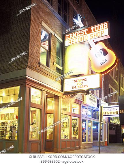 Ernest Tubb Music Shop, Lower Broadway, Nashville, Tennessee, Usa