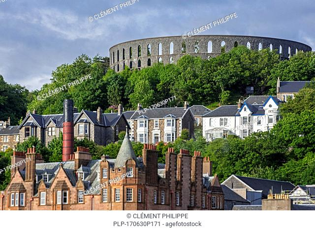 McCaig's Tower on Battery Hill overlooking the city Oban, Argyll and Bute, Scotland, UK
