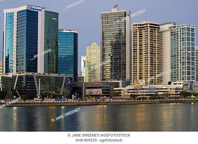 Avenue Balboa city skyline at dusk, Panama City, Panama