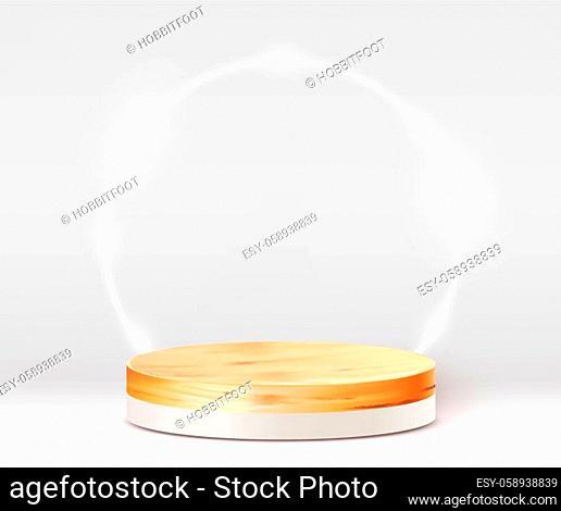Abstract scene background. Cylinder wood podium on white background. Product presentation, mock up, show cosmetic product, Podium, stage pedestal or platform