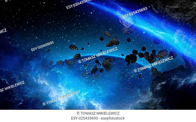 Planet Earth with sun in universe or space, Earth and galaxy in a nebula cloud (Elements of this 3d rendered image furnished by NASA)