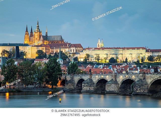 Evening on Vltava river in Prague, Czech Republic