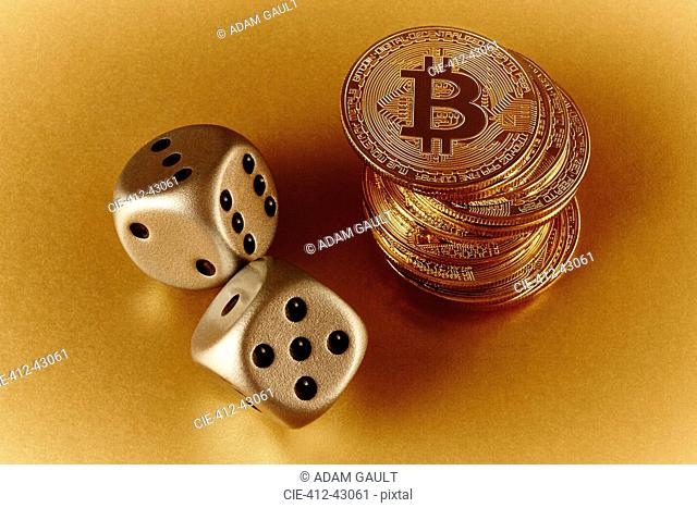 Golden Bitcoins and dice