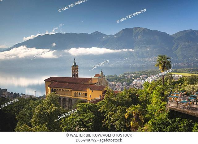 Switzerland, Ticino, Lake Maggiore, Locarno, Madonna del Sasso church, morning