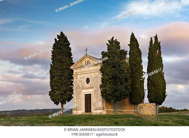 Evening sunlight on Cappella di Vitaleta near San Quirico d'Orcia, Tuscany, Italy