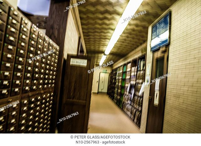 Books and card catalogue in a library