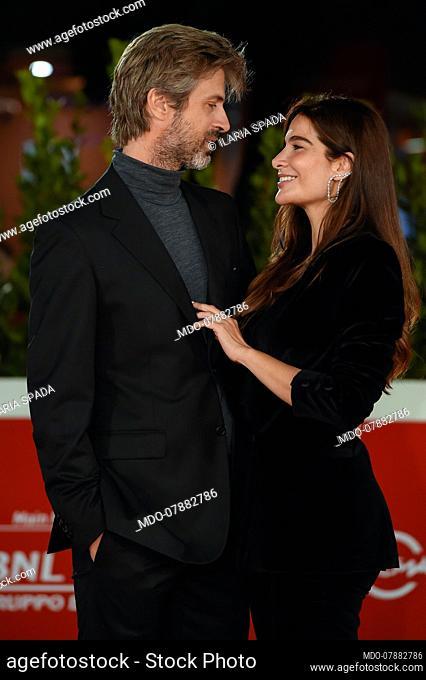 Italian actor Kim Rossi Stuart, protagonist of the film, with his actress wife Ilaria Spada at Rome Film Fest 2020. Cosa sarà Red Carpet