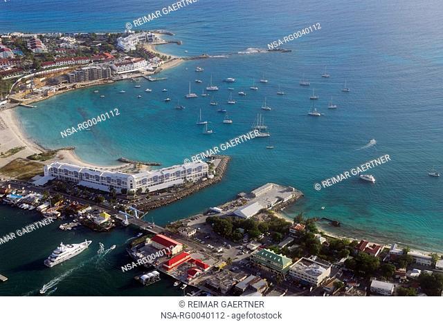 Aerial view of the Simpson Bay Bridge in St Maarten