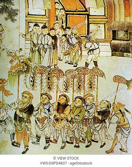 paint about group of ancient people playing dragon dancing for Chinese New Year