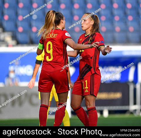 Belgium's Tessa Wullaert and Belgium's Janice Cayman celebrate after scoring during a soccer game between Belgium's Red Flames and Romania
