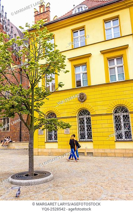 Historical tenement houses at the Old Market Square in Wroclaw, Poland