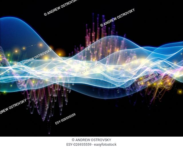 Digital Stream series. Arrangement of sine waves and lights on the subject of science, technology and education