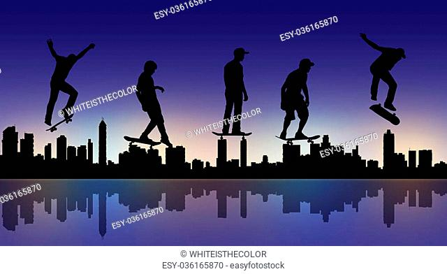 silhouettes of skateboarders making different movements with a big city panoramic silhouette in the night