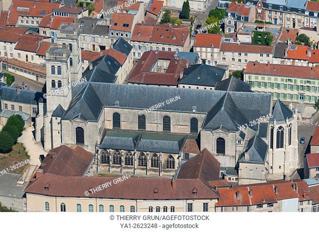 France, Meuse (55), Verdun town, Notre Dame de Verdun cathedral (aerial view)