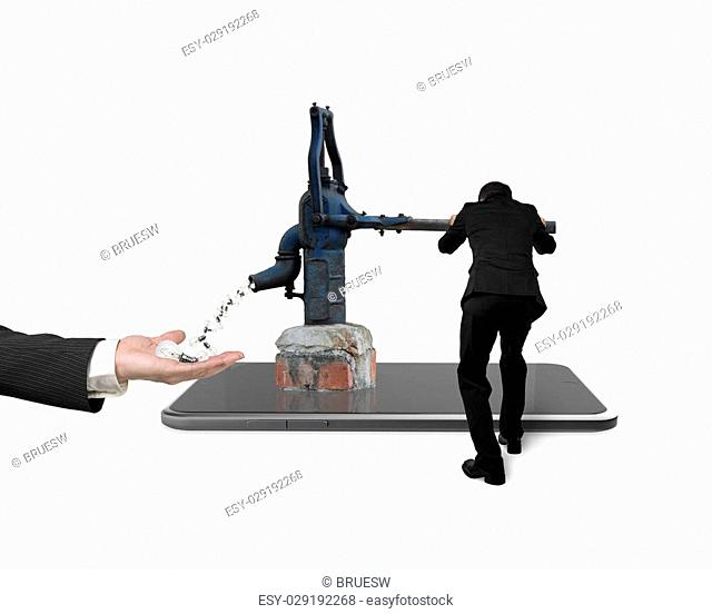 Businessman using water pump on smart tablet, drawing out light bulbs hand holding