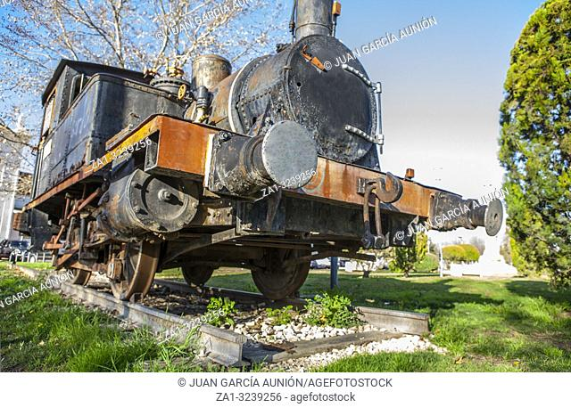 Cordoba, Spain - Feb 16th, 2014: Old steam train engine at Cordoba Park, Spain. Model Anjubault	020T 1864