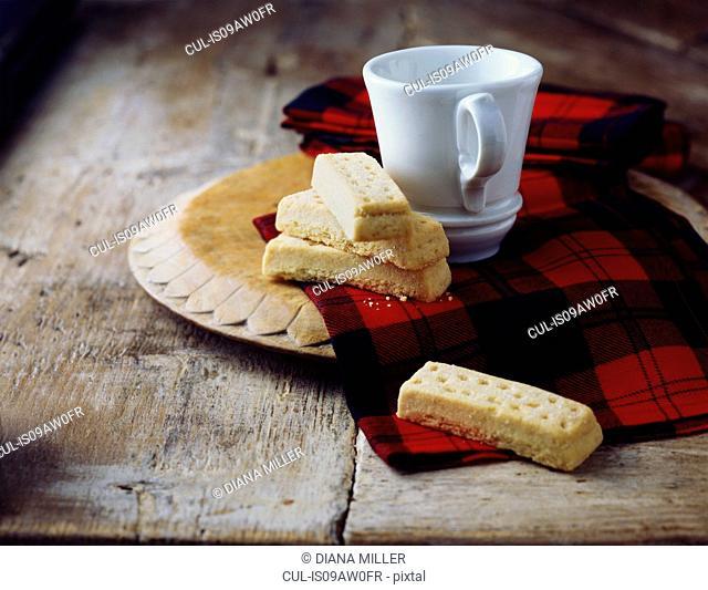 Luxury Scottish all butter shortbread fingers on tartan tea towel