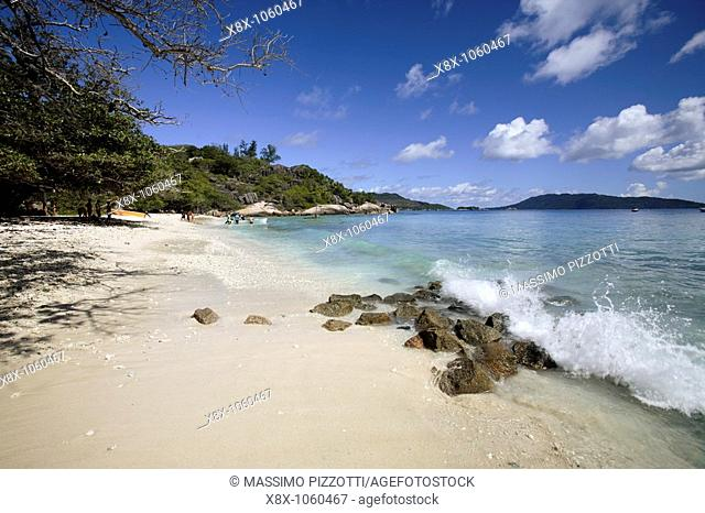 The beach of the Sister Islands, Seychelles
