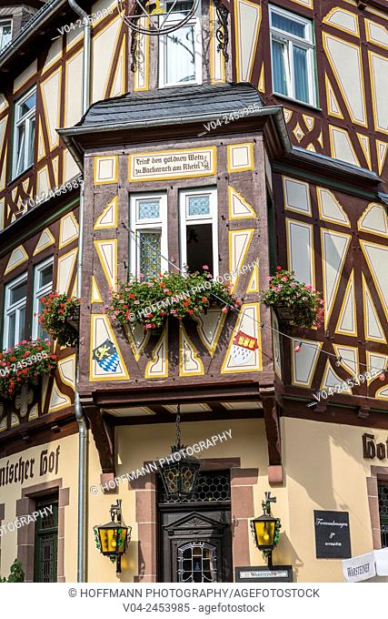 Detail of a picturesque timbered house in Bacharach, Rhineland-Palatinate, Germany, Europe