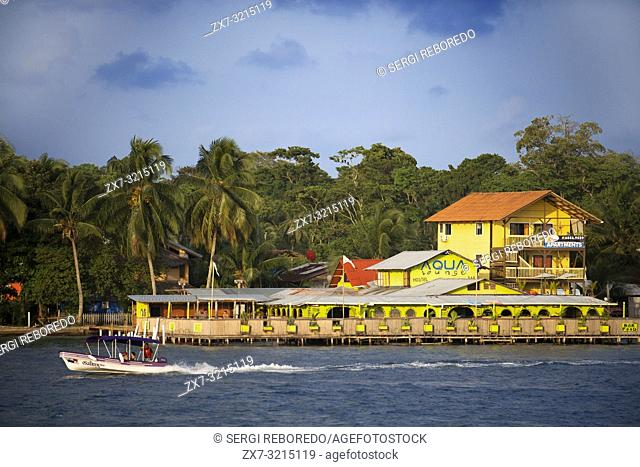 Panama Bocas del Toro iconic view of boats and archipelago. Aqua Lounge Hostel and Bar Isla Carenero. Bocas del Toro is the capital of the Panamanian province...