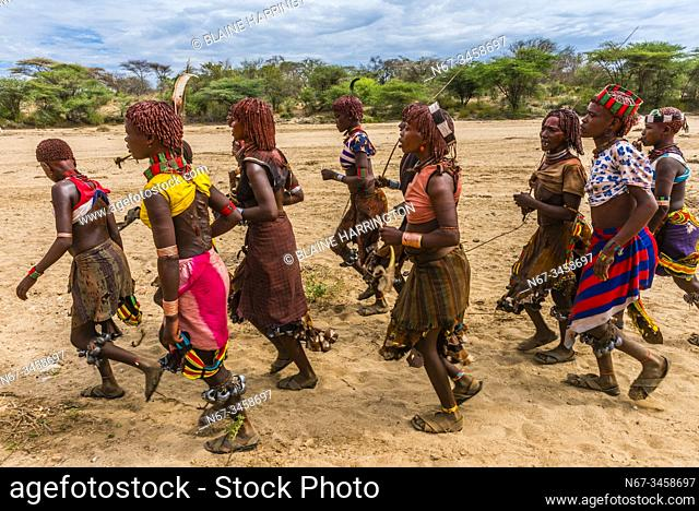 Women singing, dancing and jumping before the Hamer tribe bull jumping ceremony, a rite of passage initiating a boy into manhood, Omo Valley, Ethiopia