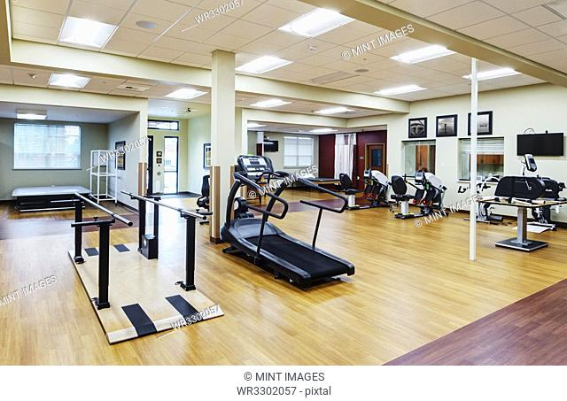 Empty gym in assisted living facility