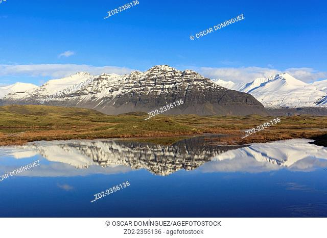 Winter landscape near Hofn. Vatnajokull National Park. Southern Iceland