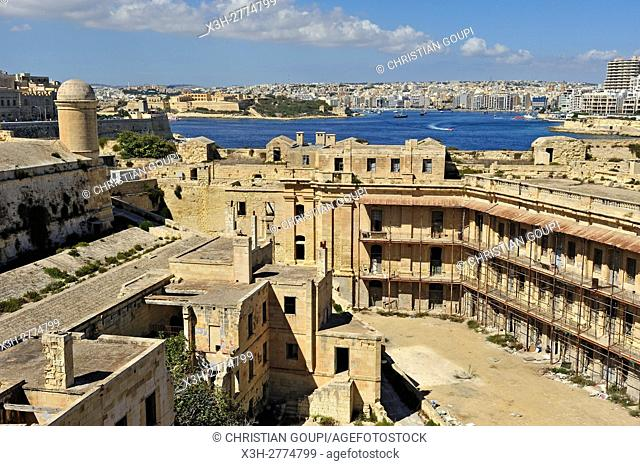 disused building where was filmed the prison scenes of the movie Midnight Express, Fort Saint Elmo, Valletta, Malta, Southern Europe