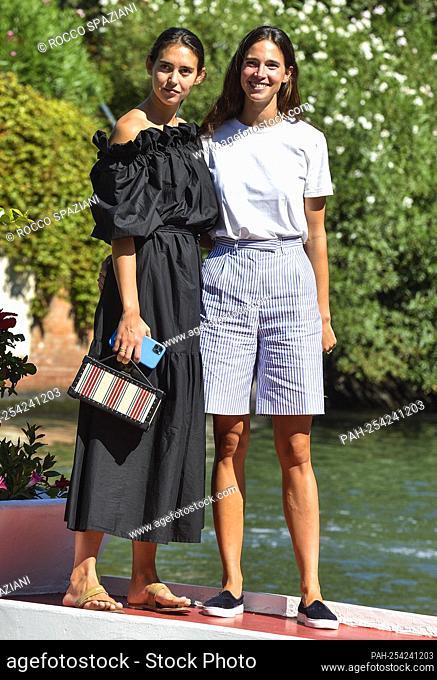 VENICE, ITALY - SEPTEMBER 01: Viola Arrivabene and Vera Arrivabene is seen arriving at the 78th Venice International Film Festival on September 01