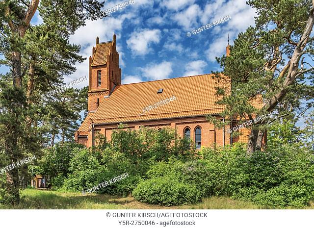 The Evangelical Church in Nida was built in Gothic style in 1888. Nida (Nidden) is a village on the Curonian Spit to the Baltic Sea