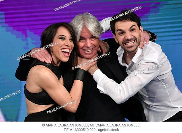 Nunzia De Girolamo, Ivan Zazzaroni, Raimondo Todaro at tv show Porta a porta, Rome, ITALY-29-05-2019