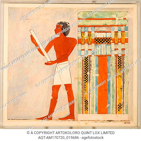 Man Before a False Door, Tomb of Nebamun, New Kingdom, Dynasty 18, ca. 1479–1458 B.C., From Egypt, Upper Egypt, Thebes, Tempera on Paper, facsimile: H