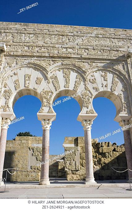 Cordoba, Spain. The doorway of Yafar the prime minister at Medina Azahara or Madinat al Zahra palace city