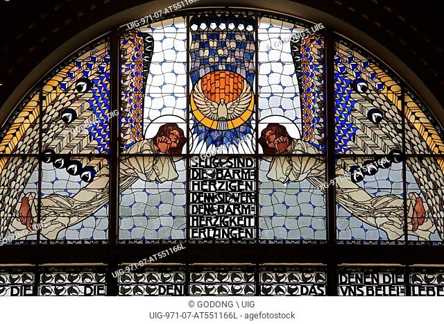 Holy Spirit. Mercy. Stained glass by Koloman Moser. Steinhof Church built by Otto Wagner betweens 1902 and 1907