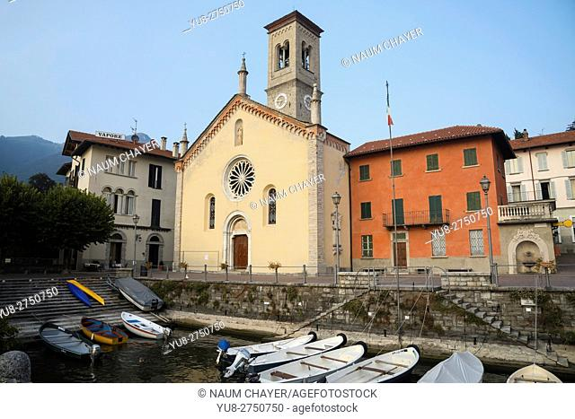 Small resort town Torno with Church of St. Tecla in front, Lake Como, northern Italy, Europe