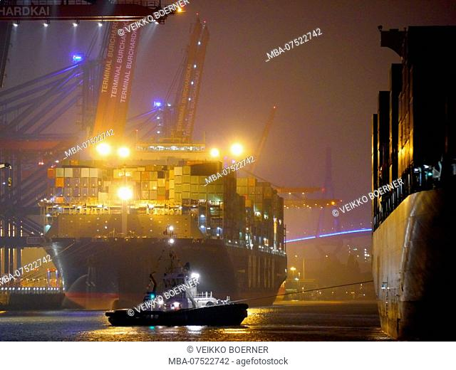 Container terminal by night