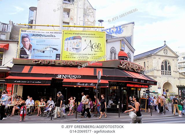France, Europe, French, Paris, 18th arrondissement, Place Jules Joffrin, Le Nord Sud, cafe, bar, brasserie, restaurant, street, pedestrians,