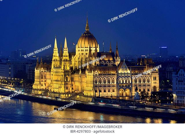 Parliament on the Danube at night, Budapest, Hungary