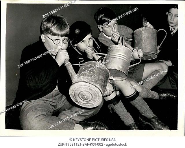 Nov. 21, 1958 - Audition for boys to 'Play' a watering can; An audition was held last evening to find two schoolboys to blow down the spout of a watering can to...
