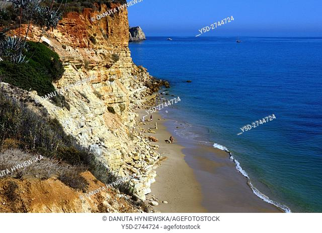 Europe, Portugal, Algarve, Lagos, calm Porto de Mos beach seen from high cliffs