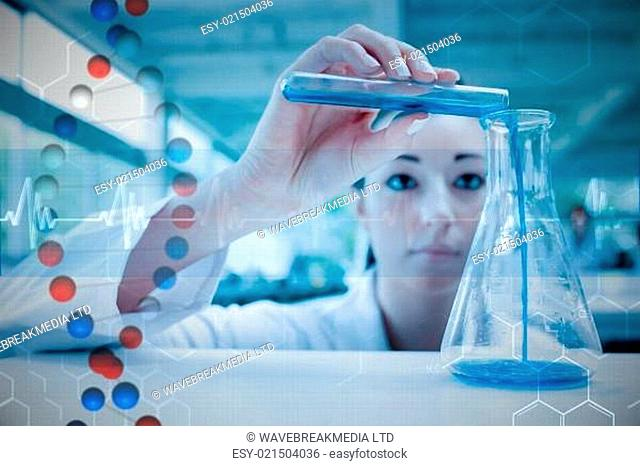 Composite image of scientist pouring a liquid in an erlenmeyer flask with a test tube
