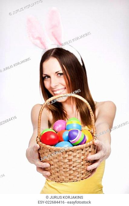 Girl with easter egg basket