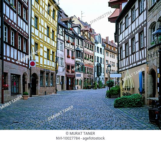 Half timbered architecture at Weissgerbergasse, Tanner's Lane, Nuremberg, Bavaria, Germany