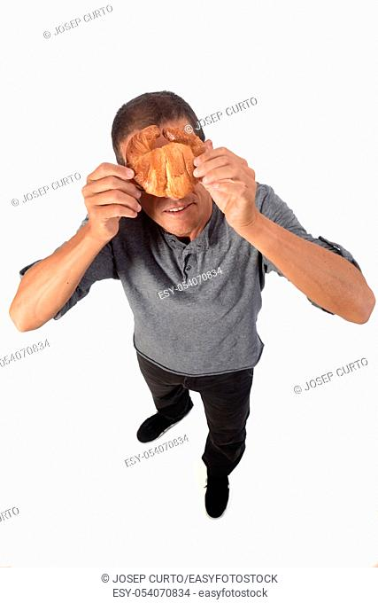 man with croissant on white background
