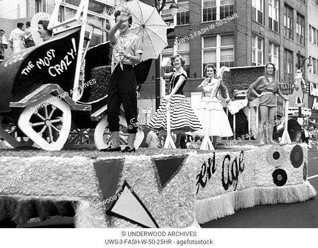 Memphis, Tennessee: 1955 A teen-age float during the Fashion Parade at the Memphis Cotton Carnival